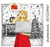 vector woman buy christmas...   Shutterstock .eps vector #507210967
