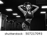 fitness girl exercising with... | Shutterstock . vector #507217093