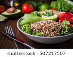 healthy salad bowl with quinoa  ... | Shutterstock . vector #507217507