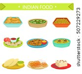 indian food famous dishes... | Shutterstock .eps vector #507229273
