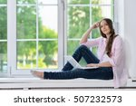 young woman  in headphones with ...   Shutterstock . vector #507232573