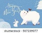 cartoon style christmas vector... | Shutterstock .eps vector #507239077