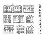 thin line houses. set of home... | Shutterstock .eps vector #507241183