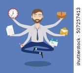 businessman with multitasking...   Shutterstock .eps vector #507257413