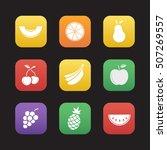fruit flat design icons set....