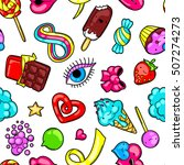 seamless kawaii pattern with... | Shutterstock .eps vector #507274273