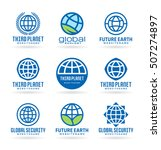 set of vector earth icons and... | Shutterstock .eps vector #507274897