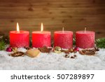 four red advent candles with... | Shutterstock . vector #507289897