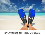 snorkeler relaxing on the beach.... | Shutterstock . vector #507291637
