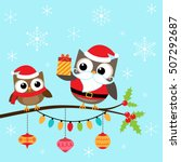 owls in costumes sitting on... | Shutterstock .eps vector #507292687