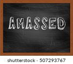 Small photo of AMASSED hand writing chalk text on black chalkboard