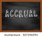 Small photo of ACCRUAL hand writing chalk text on black chalkboard