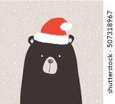 christmas card   black bear... | Shutterstock .eps vector #507318967