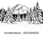 winter forest sketch. black and ... | Shutterstock .eps vector #507334033