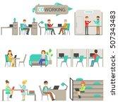 coworking in modern design... | Shutterstock .eps vector #507343483