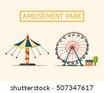 amusement park theme. cartoon... | Shutterstock .eps vector #507347617