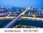overpass of the light trails ... | Shutterstock . vector #507357307