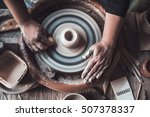 potter at work. top view of... | Shutterstock . vector #507378337