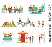 happy family having good time...   Shutterstock .eps vector #507394207