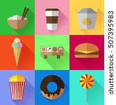 set of colorful simple fast... | Shutterstock .eps vector #507395983