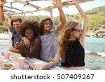 four friends having fun sitting ...   Shutterstock . vector #507409267