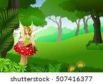 little fairy sitting on... | Shutterstock .eps vector #507416377