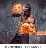shirtless aggressive fighter... | Shutterstock . vector #507422977