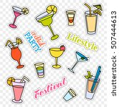 fashion patch badges. cocktail... | Shutterstock . vector #507444613