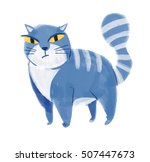 color illustration of cat. hand ... | Shutterstock . vector #507447673