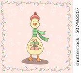 hand drawn cute smiling cartoon ... | Shutterstock .eps vector #507463207
