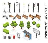 isometric city street outdoor... | Shutterstock .eps vector #507472117
