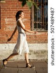 beautiful woman in a white... | Shutterstock . vector #507489487