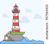 Lighthouse On Island Coast Ico...