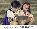 superhero boy girl brave... | Shutterstock . vector #507574693