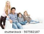 happy family. isolated. | Shutterstock . vector #507582187
