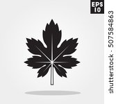 maple leaf icon in trendy flat...