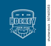 hockey emblem line icon on blue ... | Shutterstock .eps vector #507605353