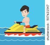 caucasian man on jet ski in the ... | Shutterstock .eps vector #507621547