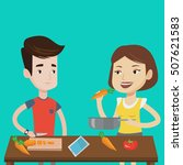couple having fun cooking... | Shutterstock .eps vector #507621583