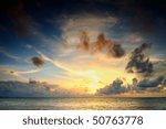 Dramatic Sunset Over The Sea O...