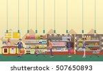 supermarket interior vector... | Shutterstock .eps vector #507650893