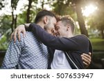 Gay Couple Love Outdoors Concept