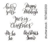 set of christmas lettering ... | Shutterstock .eps vector #507683203