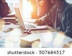 project meeting. marketing team ...   Shutterstock . vector #507684517