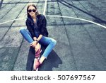 young stylish hipster woman... | Shutterstock . vector #507697567