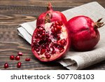 pieces ripe pomegranate on a... | Shutterstock . vector #507708103