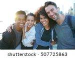 group of friends enjoying... | Shutterstock . vector #507725863