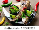 Small photo of Grilled Snapper with Mango Dip.selective focus