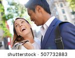 cheerful couple doing shopping... | Shutterstock . vector #507732883