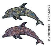 hand drawn doodle dolphin zen...   Shutterstock .eps vector #507733933